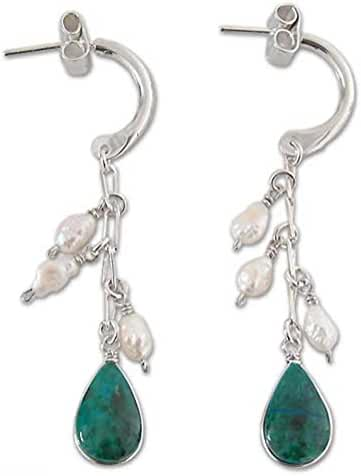 NOVICA Chrysocolla Cultured Freshwater Pearl .925 Sterling Silver Dangle Earrings 'Sweet Perfection'
