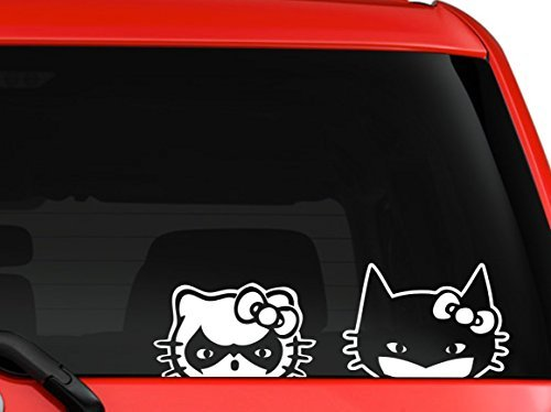 Hello Kitty Batman And Robin peeking on car truck SUV window laptop Kitchen wall macbook decal sticker Approx 10x4 inches white by Mono Decals