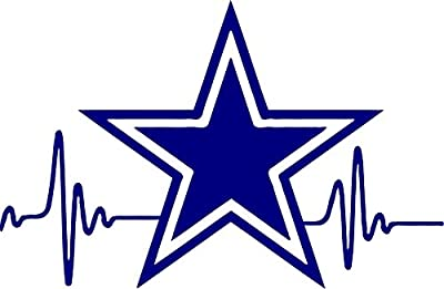 "Evee's""S $3.99 Heartbeat Star Cowboys Dallas Decal 3.5 inches Tall"