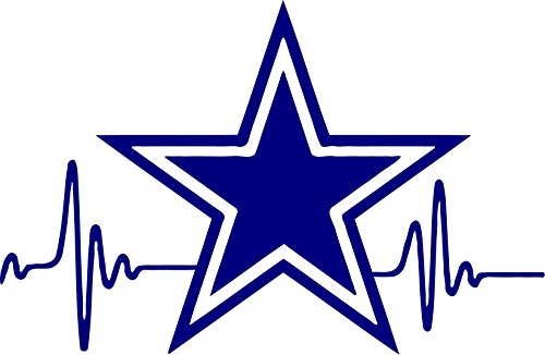 HEARTBEAT Star Cowboys Dallas Decal 3.5 inches tall