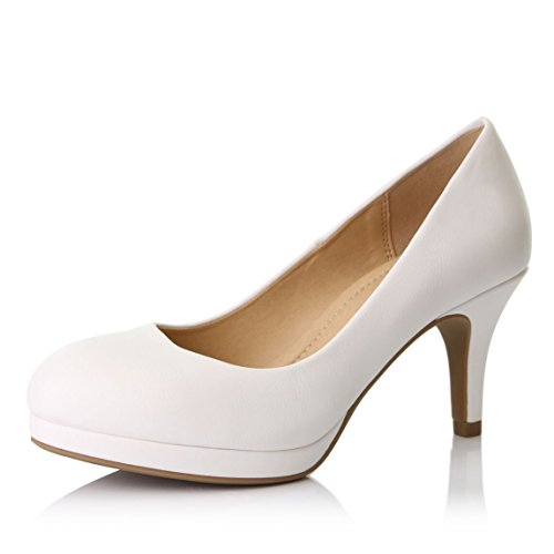 DailyShoes Women's Classic Ankle Strap Platform Low Heels Round Toe Party Dress Pumps Shoes, White PU Leather, 11 B(M) US