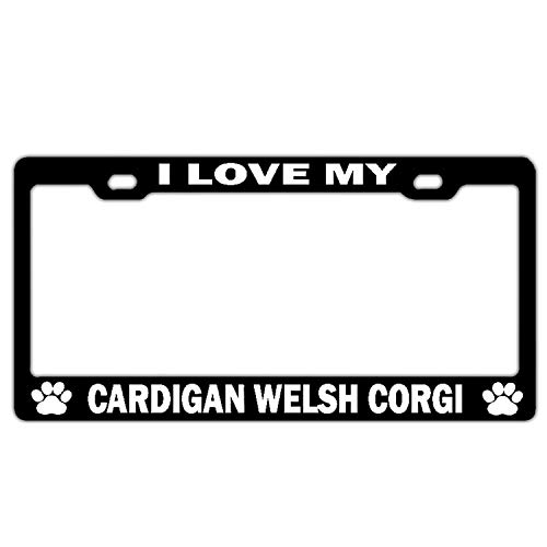 I Love My Cardigan Welsh Corgi Black Customized License Plate Frame Funny License Plate Cover Holder Auto Car Truck for US Standard 2 Hole and Screws