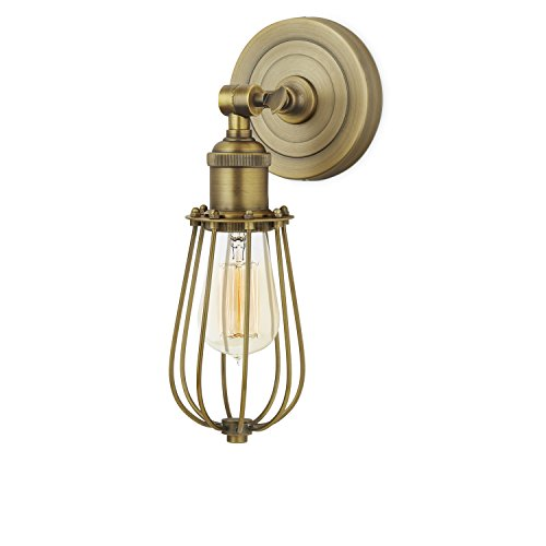 1 Brass Cage Wall Sconce Lamp with 1 Edison Style Bulb, Brass, Rain Drop Clifton Collection, ETL Listed (Aged Gold Wall)