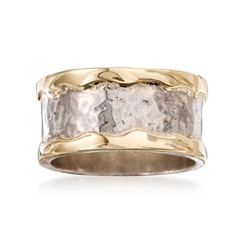 Gold Cigar Band - Ross-Simons Sterling Silver and 14kt Yellow Gold Cigar-Band Ring