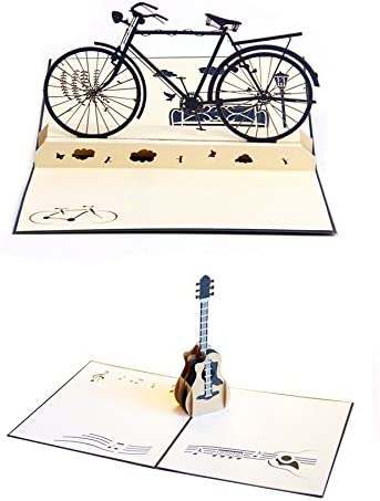Buy Sodial Handmade 3D Pop Up Birthday Cards Blessing Thank Love Creative Greeting Paper Craft Bicycle And Guitar Online At Low
