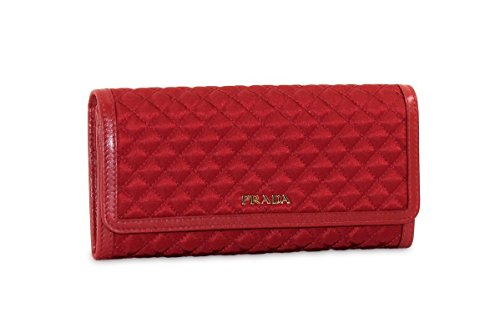 Prada Tessuto Quilted Nylon with Leather Wallet, Red (Fuo...