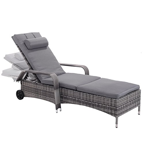 NEW Outdoor Chaise Lounge Chair Recliner Cushioned Patio Furni Adjustable W/Wheels (Buy Furniture Melbourne Outdoor)