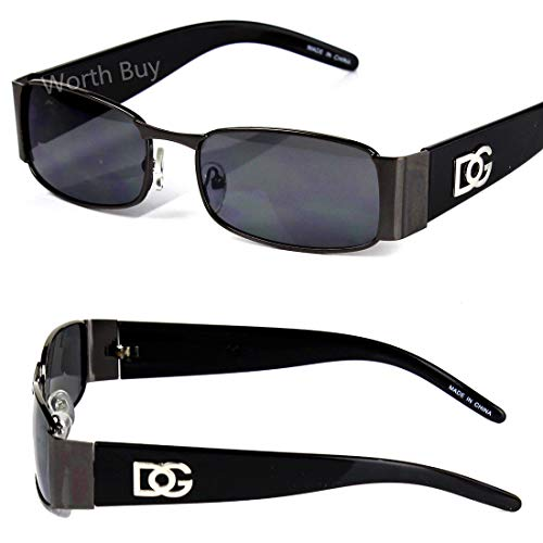 - DG Men Women Black Sunglasses Rectangular Fashion Designer Retro Vintage 80s