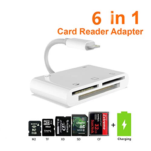 CF SD TF XD M2 Card Reader, 6 in 1 Digital Camera Reader Adapter for iPhone/iPad, Trail Game Camera Viewer for iPhone Xs Max/Xs/X/8/7/6/5 iPad Mini/Air, SD/TF/CF Card Reader(White) from Hkitty Xiong