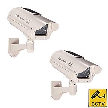 energ/ía Solar con luz led Blanca Intermitente, inal/ámbrica por Infrarrojos, para Exterior e Interior BW Paquete de 2 c/ámaras de videovigilancia ficticias