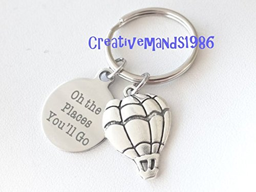 Oh the places you'll go Keychain, hot air balloon keychain, graduation, graduation keychain, class of 2018, Christmas