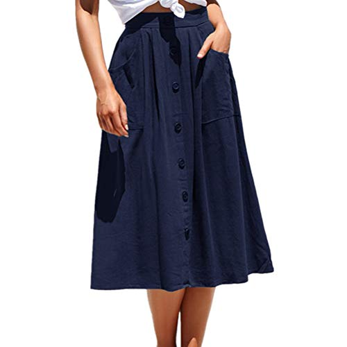 Laiyuan A-line Midi Skirt for Women Casual High Waist Skirt with Pockets Navy S ()