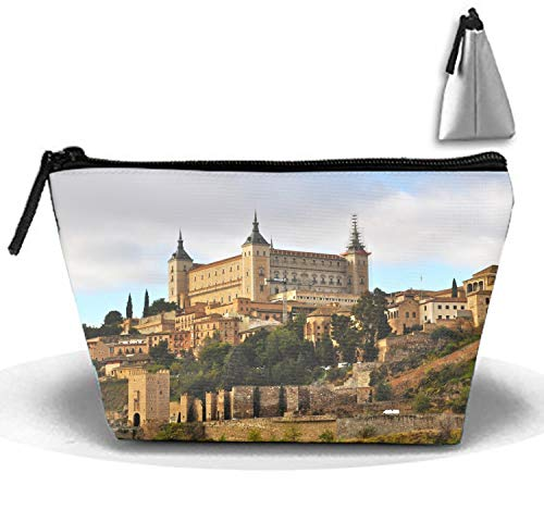 Toledo Oxfords (PANQJN Spain Castle Alcazar Toledo Travel Cosmetic Bag Portable Trapezoidal Strorege Bag Makeup Handbag)