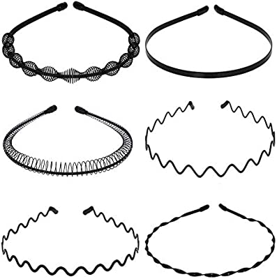 Pack of 6 Wave Headband Metal Hair Band Accessories for Men and Women Black