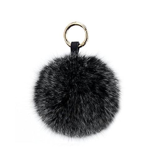 PATTONJIOE 5.1'' Fox Fur Pom Pom Keychain Bag Charm Genuine Fox Fur Fluffy Balls Keychain DIY Gifts by PATTONJIOE