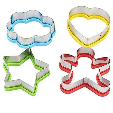 perfk 4pcs Cortadores de Pan en Forma de Flor Estrella Corazón Molde de Pastel para Comida de Niños: Amazon.es: Hogar