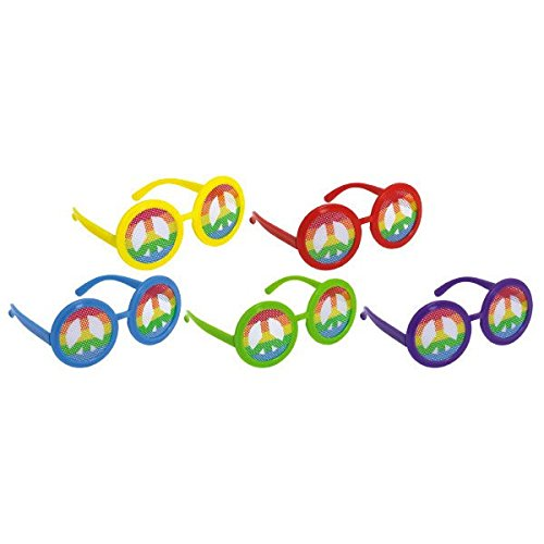 Peace Glass - Amscan Adult Groovy 60's Party Glasses with Printed Peace Symbol Lens Accessory (10 Piece), Multicolor