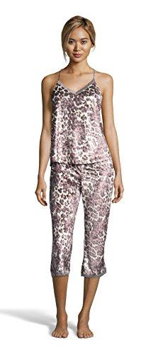 Nanette Nanette Lepore Women's Lace Trim Racerback Tank and Capri Pants Pajama Set Animal Medium