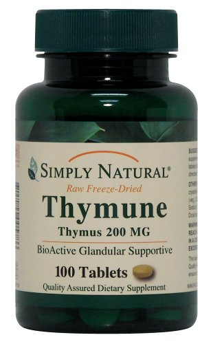 Simply Natural Thymune Thymus 200 MG, 100 tablets Glandular 100 Tablets