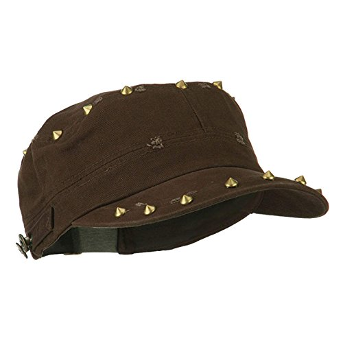 YAPAPA Ladies 100% Cotton Spike Studded Military Cadet Cap Hat (Brown)