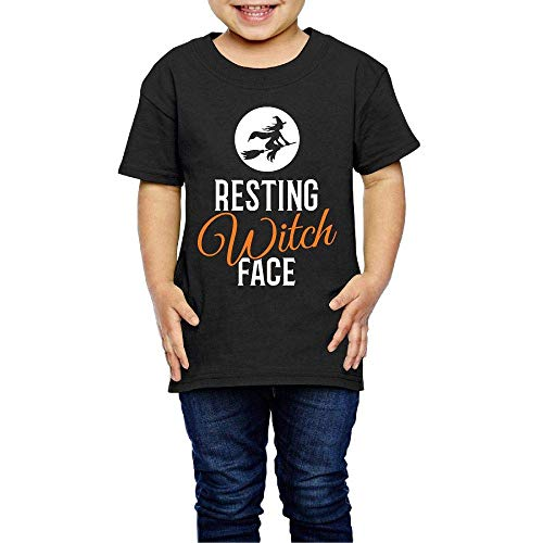 sport outdoor 003 Resting Witch Face Halloween 2-6 Years Old Child Short-Sleeved T Shirt Black ()