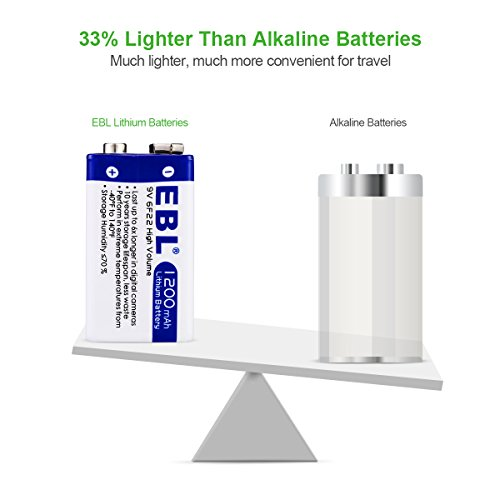 EBL Advanced 9V 1200mAh Lithium Batteries with Battery Storage Container, 4 Packs Photo #2