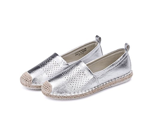 Dream Spring and Summer Breathable Canvas Shoes Outdoor Slippers Ladies Casual Shoes Flat Bottom Net Shoes Silver n0soKeu