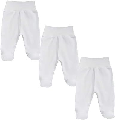 MEA BABY - Pantalones unisex para bebé con pie de algodón orgánico 100%, pack de 3 unidades. Peto para bebé con pie. Pantalones de bebé con pie para niña, con pies. Niñas