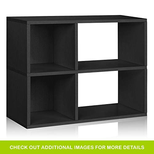 Way Basics Eco 2 Shelf Chelsea Bookcase and Cubby Storage, Black Wood Grain (Tool-Free Assembly and Uniquely Crafted from Sustainable Non Toxic zBoard paperboard) (Black Bookcase 2 Shelf)