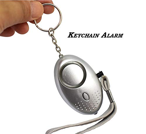 Faocean 130db Safesound Emergency Personal Alarm Keychain Security Siren Self Defense Tool Kit with Mini LED Bulbs for Women Girls Silver