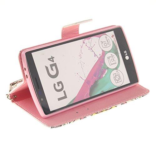 Funda del LG G4,cáscara de cuero del LG G4 de MAGQI,cubierta de cuero de la PU del tirón de la alta calidad con vistoso mandala serie dibujos animados diseño [Función stand] [Ranuras para Tarjetas y B Mandala colorida
