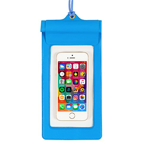 Tri Performance Waterproof Cell Phone Case, Universal Dry Bag with Neck Strap Lanyard for iPhone 7, 7 Plus, 6s, 6, 6s Plus, SE, 5s, Note5, S7 Edge, Pixel XL, LG BLU Huawei & Other Devices (Blue) by Tri Performance