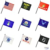 27 Pack Military Army Armed Forces Stick Flag Set Small Mini US Army Gold Crest Marine Corps Navy Air Force Coast Guard POW MIA Flags Party Decorations