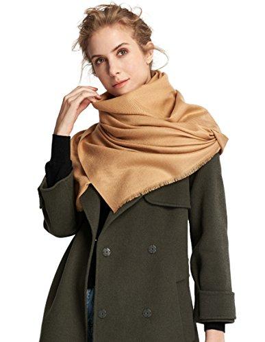 RIONA Women's Soild Basolan Wool Scarf - Super Soft Fashion Lightweight Neckwear for Spring & Fall(Camel) by RIONA (Image #3)