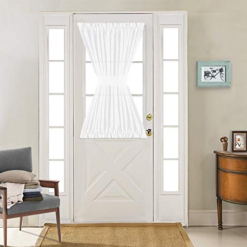 (Linen Textured French Door Panel Curtains Open Weave White Sheer French Door Panels 40 inch Length, Single Panel, 1 Tieback Included)