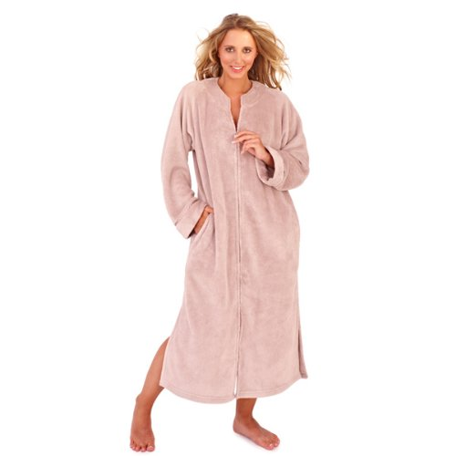 Ladies Taupe colour corel fleece long robe with full zip up front ...