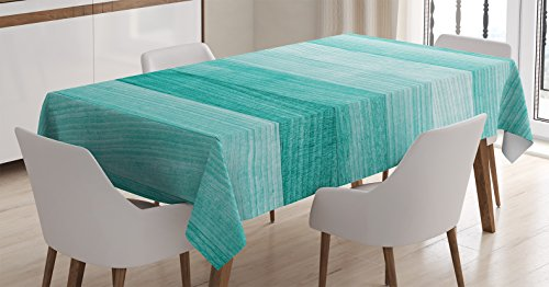 Teal Decor Tablecloth by Ambesonne, Painted Wood Texture Penal Horizontal Lines Birthdays Easter Holiday Print Backdrop, Dining Room Kitchen Rectangular Table Cover, 60 X 90 Inches, Turquoise