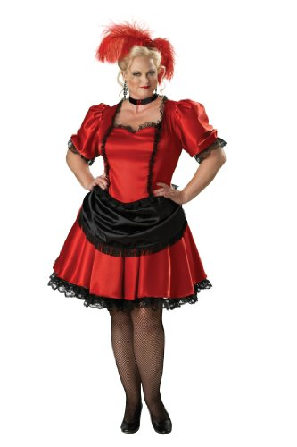 Plus Size Saloon Girl Costumes (InCharacter Premier Red Black Saloon Gal Western Plus Size Adult Costume Size 2X)
