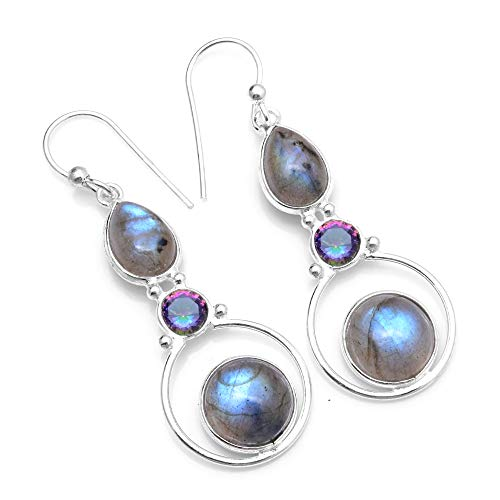 - Silver Palace Sterling Silver Natural Labradorite,Mystic Topaz Drop Dangle Earrings for Womens