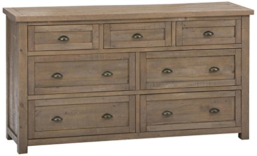 "Jofran: , Slater Mill, 7 Drawer Dresser, 68""W X 19""D X 37""H, Medium Brown Pine Finish, (Set of 1) - Co Ordinates with other Pieces of our Slater Mill Pine Collection Five Sided Drawer Finishes Solid Reclaimed Pine - dressers-bedroom-furniture, bedroom-furniture, bedroom - 412J%2BECqdHL -"