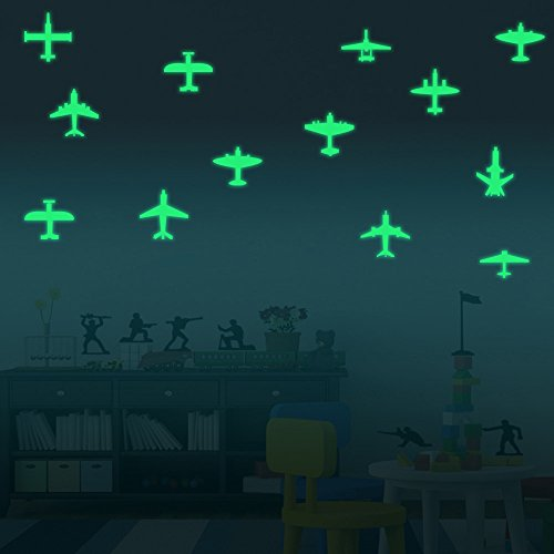 ufengke® 12-pcs Creative Airplanes Wall Decals Fluorescence Stickers Glow in The Dark, Childrens Room Nursery Removable Wall Stickers Murals