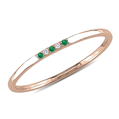 14K Gold 0.02 Carat (ctw) 5 Stone Natural Round Green Emerald & White Diamond Wedding Band For Women