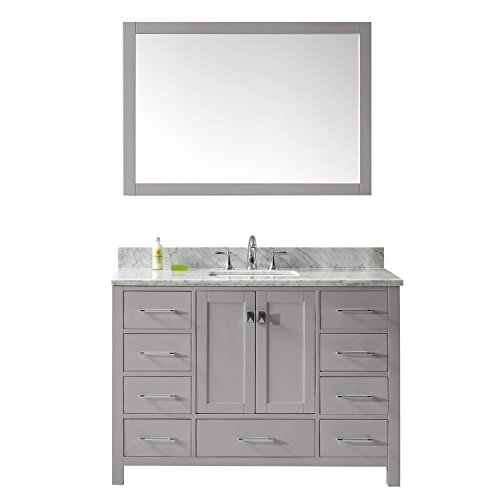 Virtu USA GS-50048-WMSQ-CG-002 Caroline Avenue Single Bathroom Vanity with Marble Top/Square Sink with Polished Chrome Faucet/Mirror, 48