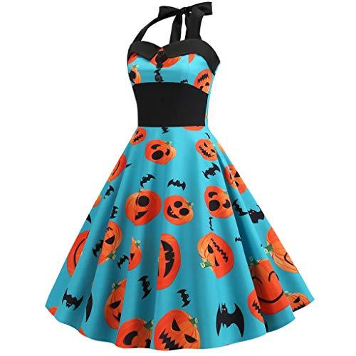 aihihe Halloween Costumes for Women Halter Vintage Dresses Sleeveless Pumpkin 1950S A-Line Party Sexy Mini Dress
