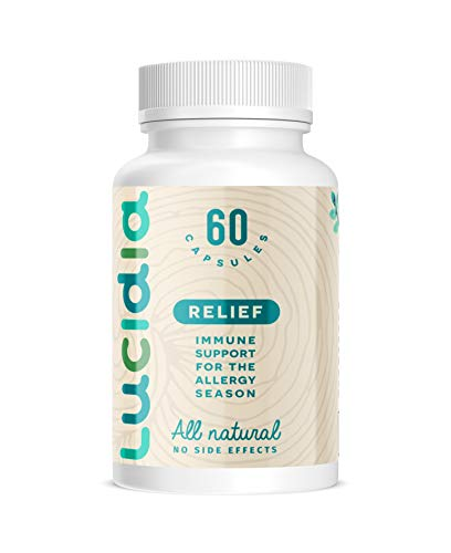 Lucidia Natural Allergy Medicine with Quercetin, Organic Stinging Nettle, Bromelain, Organic Reishi Mushroom & N-Acetyl Cysteine. Natural Antihistamine & Immune Support Formula. 60ct.