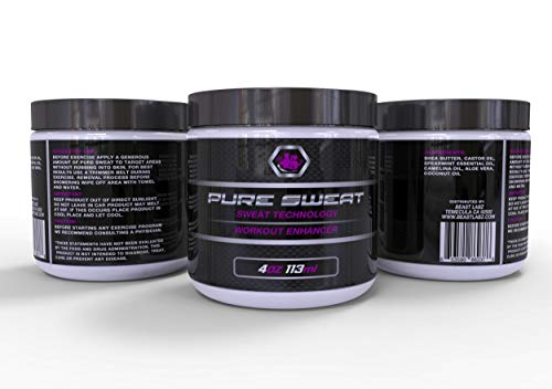 Pure Sweat All Natural Sweat Enhancer With Coconut Oil - Used for Weight Loss and Stretch Marks. Sweat Workout Enhancer, 4 oz
