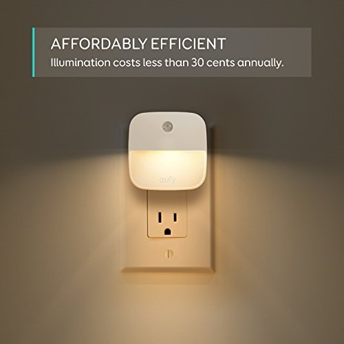 eufy Lumi Plug-In Night Light, Warm White LED Nightlight, Dusk-To-Dawn Sensor, Bedroom, Bathroom, Kitchen, Hallway, Stairs, Energy Efficient, Compact, 4-pack