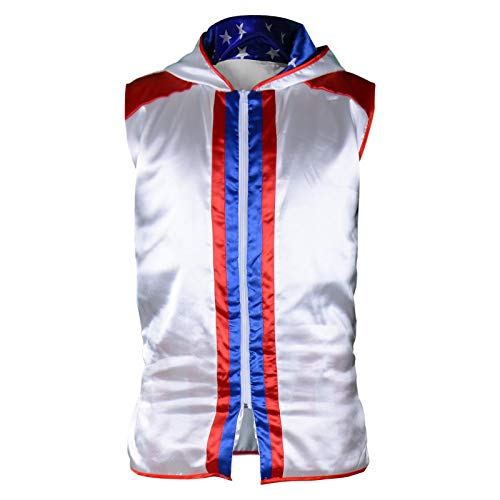 Wraith of East Kids Boxing Costume Rocky Balboa Apollo American Flag Robe Boy Kickboxing Hoodie Sport Creed Jacket, S -