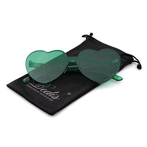 Bedis Colorful Transparent Heart Shape Sunglasses One Piece Rimless Eyewear BD210 (Green, 65)