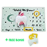 L & M Home Baby Milestone Monthly Blanket - Newborn Girls or Boys Photography Props, 2 Frames, 1 Pair of Angel Wings & 1 Headband – Unique Photo Backdrop for Baby Showers – 60 x 40 Inches